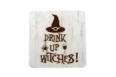 Drink up Witches Hand-Painted Wood Coaster Set.