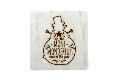 It's the Most Wonderful Time of the Year Hand-Painted Wood Coaster Set.