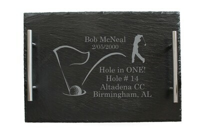 Hole In One with Personalized Information Slate Serving Tray