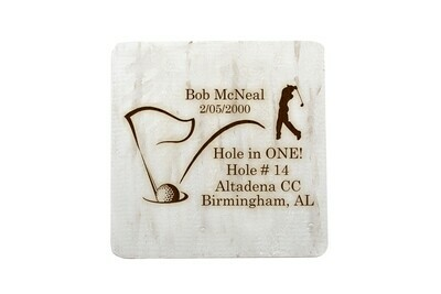 Hole In One with Personalized Information Hand-Painted Wood Coaster Set