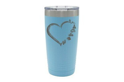 Heart w/Outdoor Icons (without or with Name or Location) Insulated Tumbler 20 oz