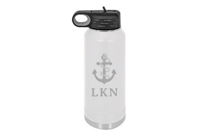 Anchor w/Rope & Customized Location Insulated Water Bottle 32 oz