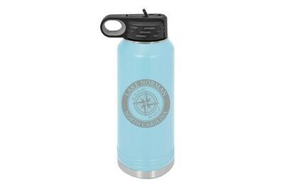 Custom Location with Latitude & Longitude in Circle Insulated Water Bottle 32 oz