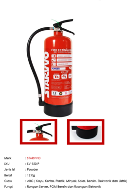 Alat Pemadam Api STARVVO ABC Powder 12 Kg