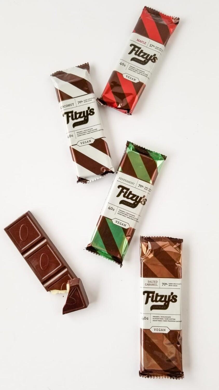 Fitzy's - Dark Vegan Chocolate Salted Caramel Bar - 40g CLEARANCE - EXPIRED 50% OFF!