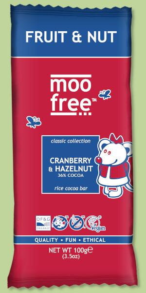 Moo Free - Cranberry & Hazelnut  100g - Dairy & Gluten Free Chocolate.