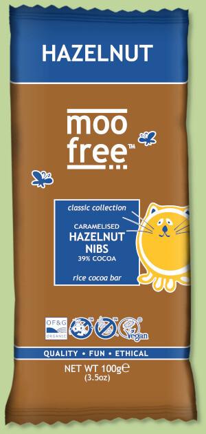 Moo Free - Caramelized Hazelnut Nibs 100g - Dairy & Gluten Free Chocolate.