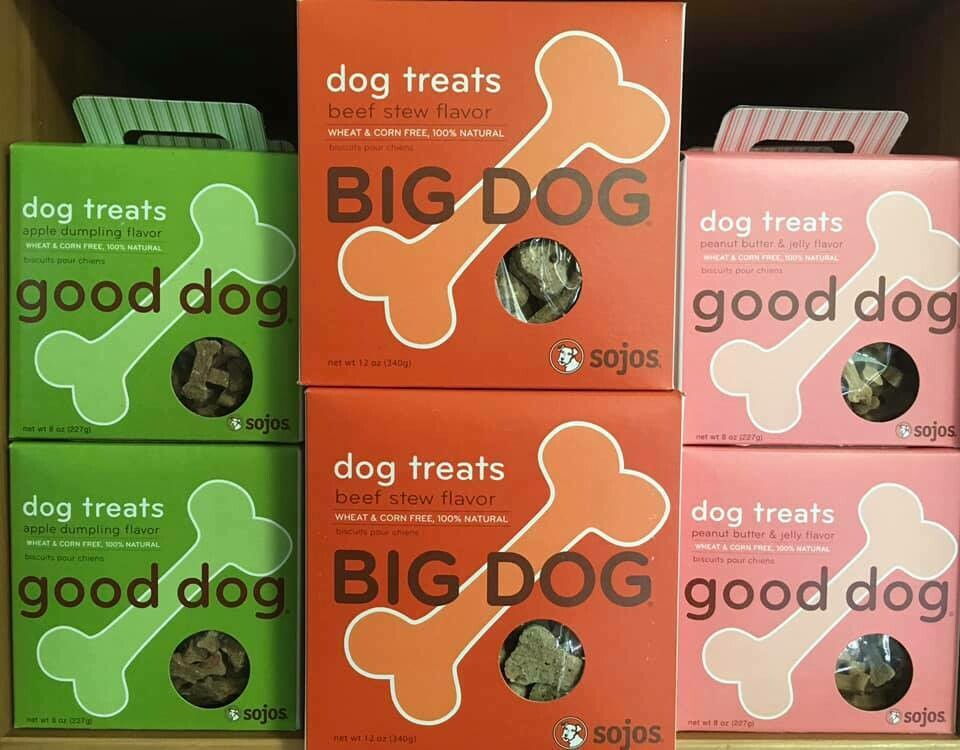 Sojos Big Dog & Good Dog treats.