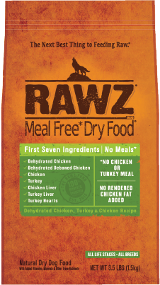 RAWZ Meal Free Dry Dog Food - Dehydrated Chicken, Turkey & Chicken Recipie. 3.5lb