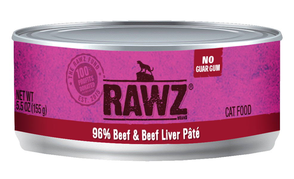 RAWZ 96% Meat Gum Free Pâté Cans - for Cats - 5.5oz