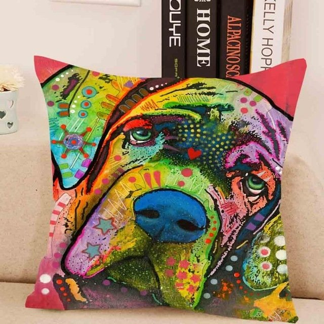 Boxer/Mastiff Pup Cushion Cover