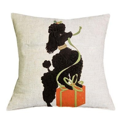 Black Poodle Cushion Cover