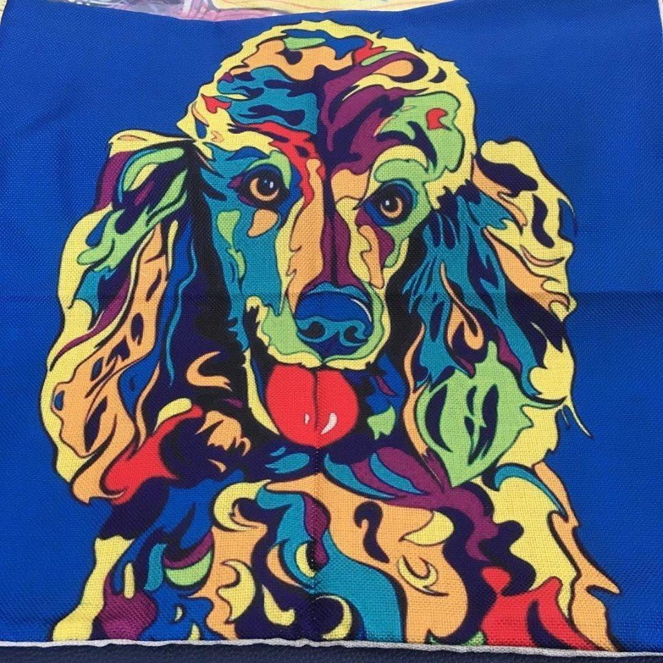 Coloured Poodle Cushion Cover