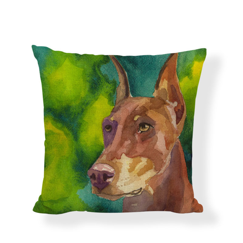 Doberman (watercolour) Cushion Cover