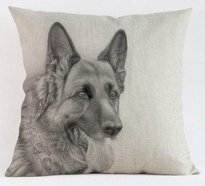 German Sheperd (black/white) Cushion Cover