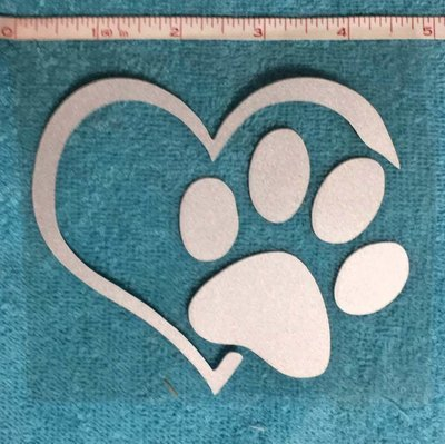 Heart and paw decal / sticker