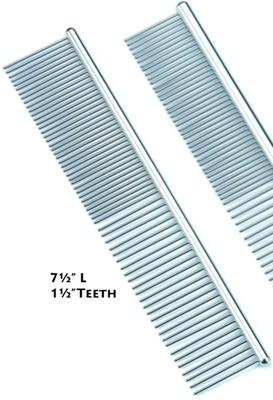"COMB - Stainless Steel Roundback  7.5"" long, 1"" teeth."