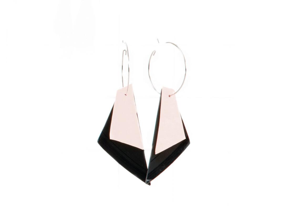 LOUISE | boucles d'oreilles (rose&noir)