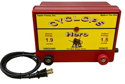 Cyclops HERO, Plug-In/AC, 1.5 Joule Electric Fence Charger - up to 15 ac