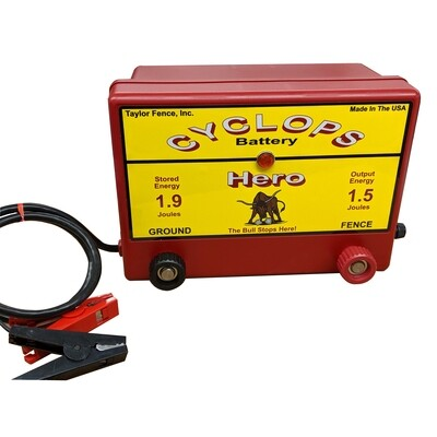 Cyclops HERO, 12V Battery/DC Powered, 1.5 Joule Electric Fence Charger - Up to 15 acres