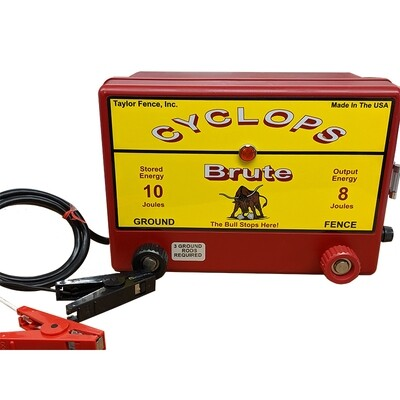 Cyclops BRUTE, 12V Battery/DC Powered, 8 Joule Electric Fence Charger - Up to 100 Acres