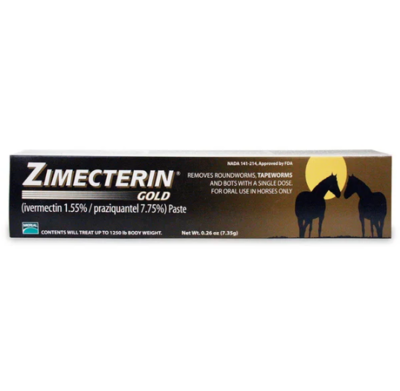 Zimecterin Gold Paste Ivermectin Paziquantel Tube