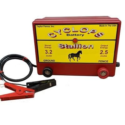 Cyclops STALLION, 12V Battery/DC Powered, 2.5 Joule Electric Fence Charger - Up to 25 Acres