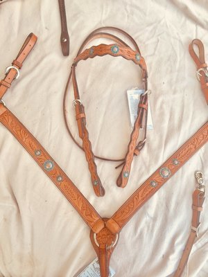 Buckaroo Leather Turquoise Copper 2 piece Bridle set