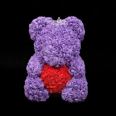 Extra Large 40cm Purple Forever Rose Teddy