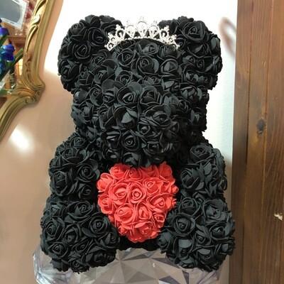 Extra Large 40cm Black Forever Rose Teddy