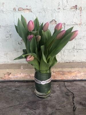 10 Pink Tulips in Vase