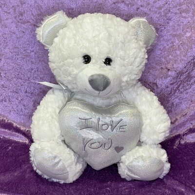 Plush White Teddy with Silver I Love You Heart 32cm