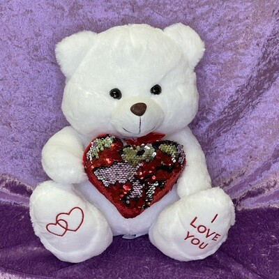 Plush White Teddy with Sequin Heart 35cm
