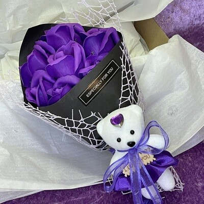 Soap Rose Posy with Teddy (Purple)