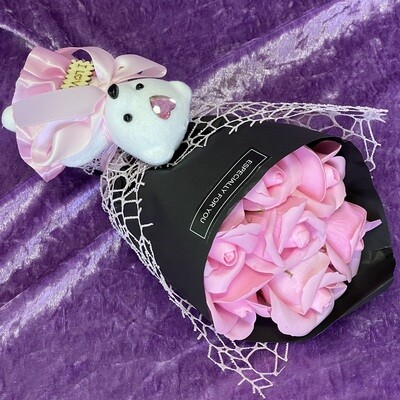 Soap Rose Posy with Teddy (Pink)