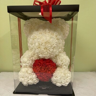 Extra Large 40cm White Forever Rose Teddy with Red Heart