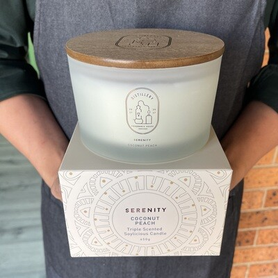 SERENITY Coconut Peach  Triple Scented Candle