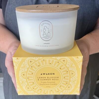 Distillery Soy Candle 450g AWAKEN Lemon Blossom & Summer Moss