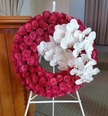 """30"""" Pink roses and orchids wreath"""