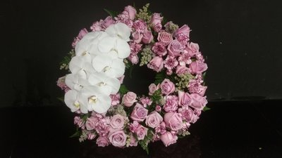 Rose wreath with orchids