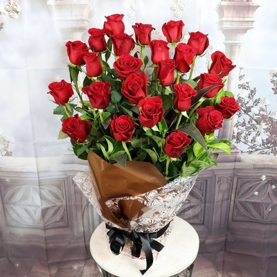 24 Red Roses gift wrapped