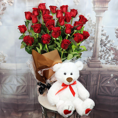 24 Roses with White Teddy Bear