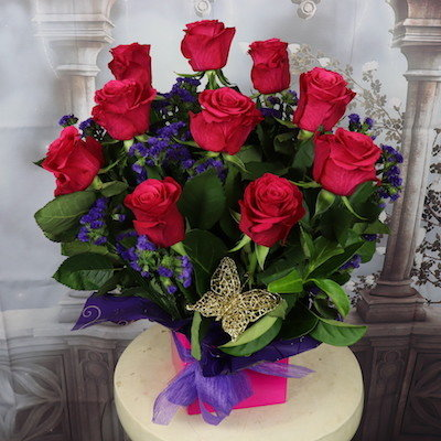 10 Hot Pink Rose arrangement