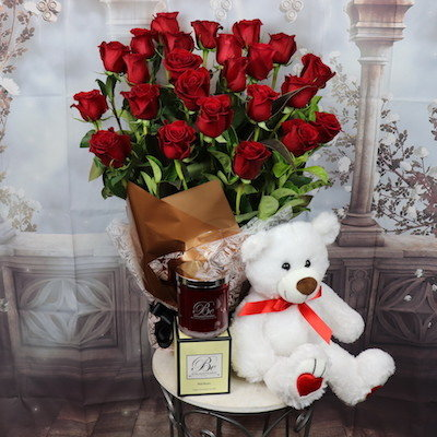 24 Red Roses with teddy and candle