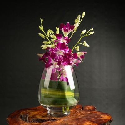 Orchids Glass Vase Arrangement