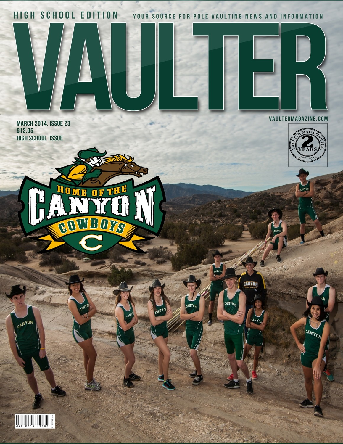 """March 2014 Canyon High School Issue of VAULTER Magazine USPS First Class """"ONLY"""""""