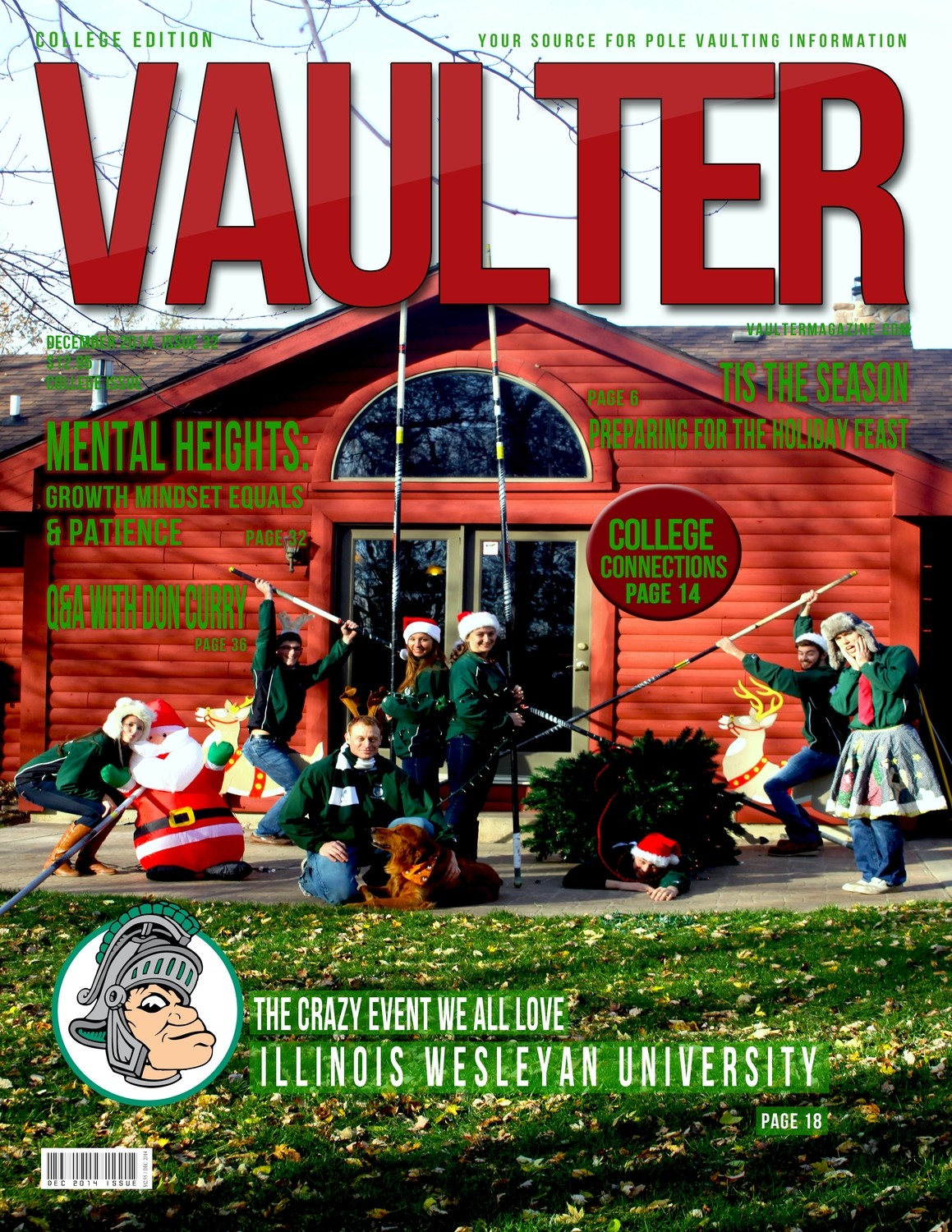 """December 2014 Illinois Wesleyan Issue of VAULTER Magazine USPS First Class """"ONLY"""""""