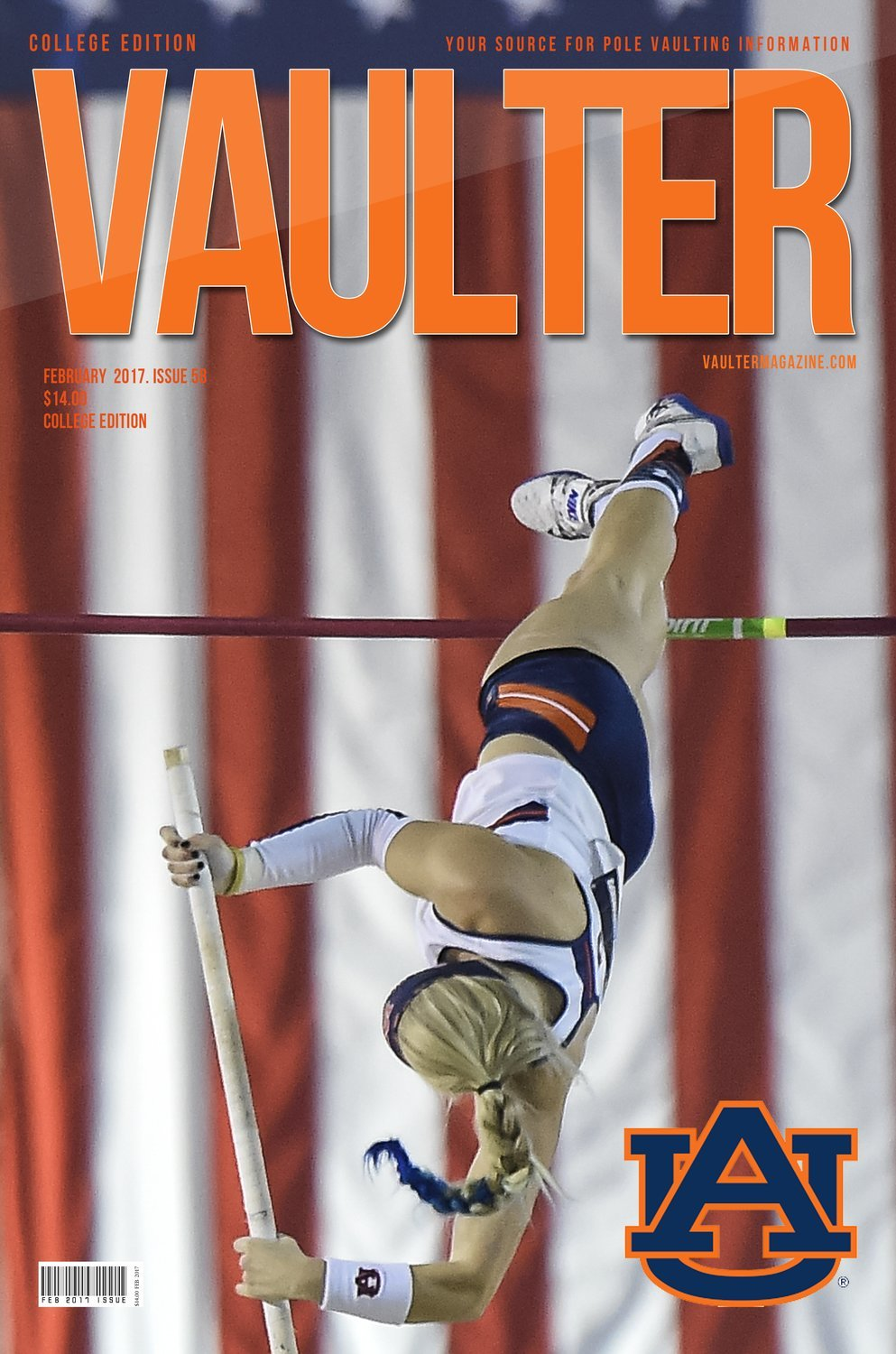 Auburn Universities Jessie Johnson University Cover of Vaulter Magazine USPS Only