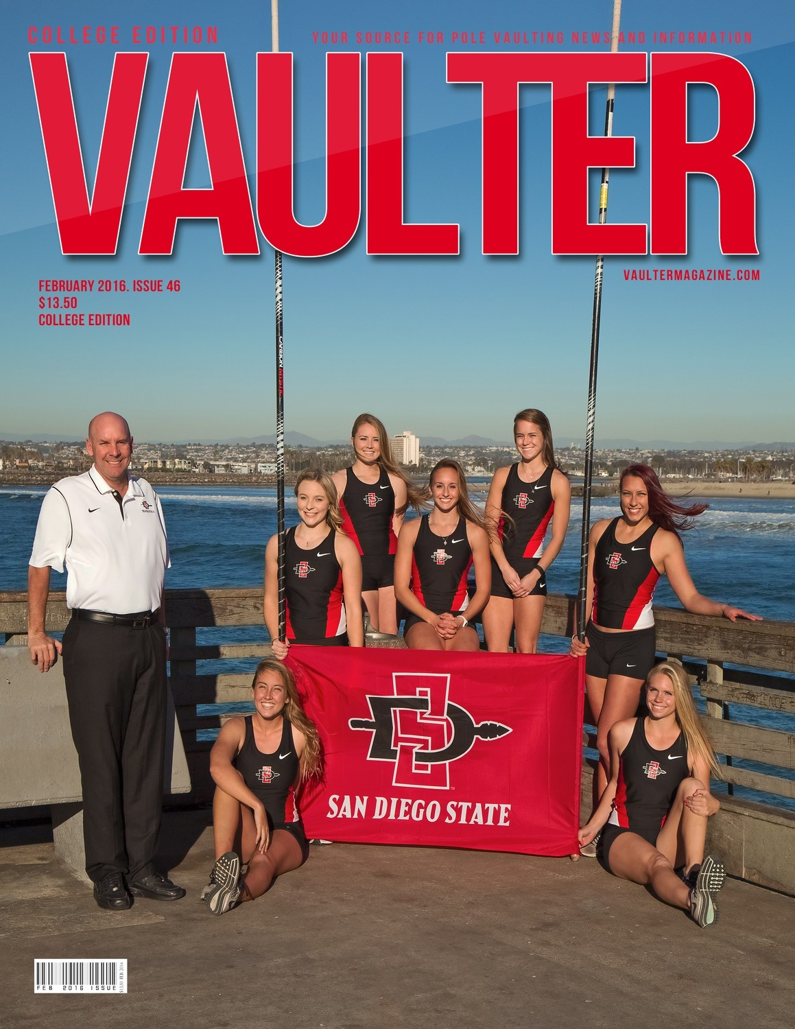 """February 2016 San Diego State University Issue of VAULTER Magazine USPS First Class """"ONLY"""""""