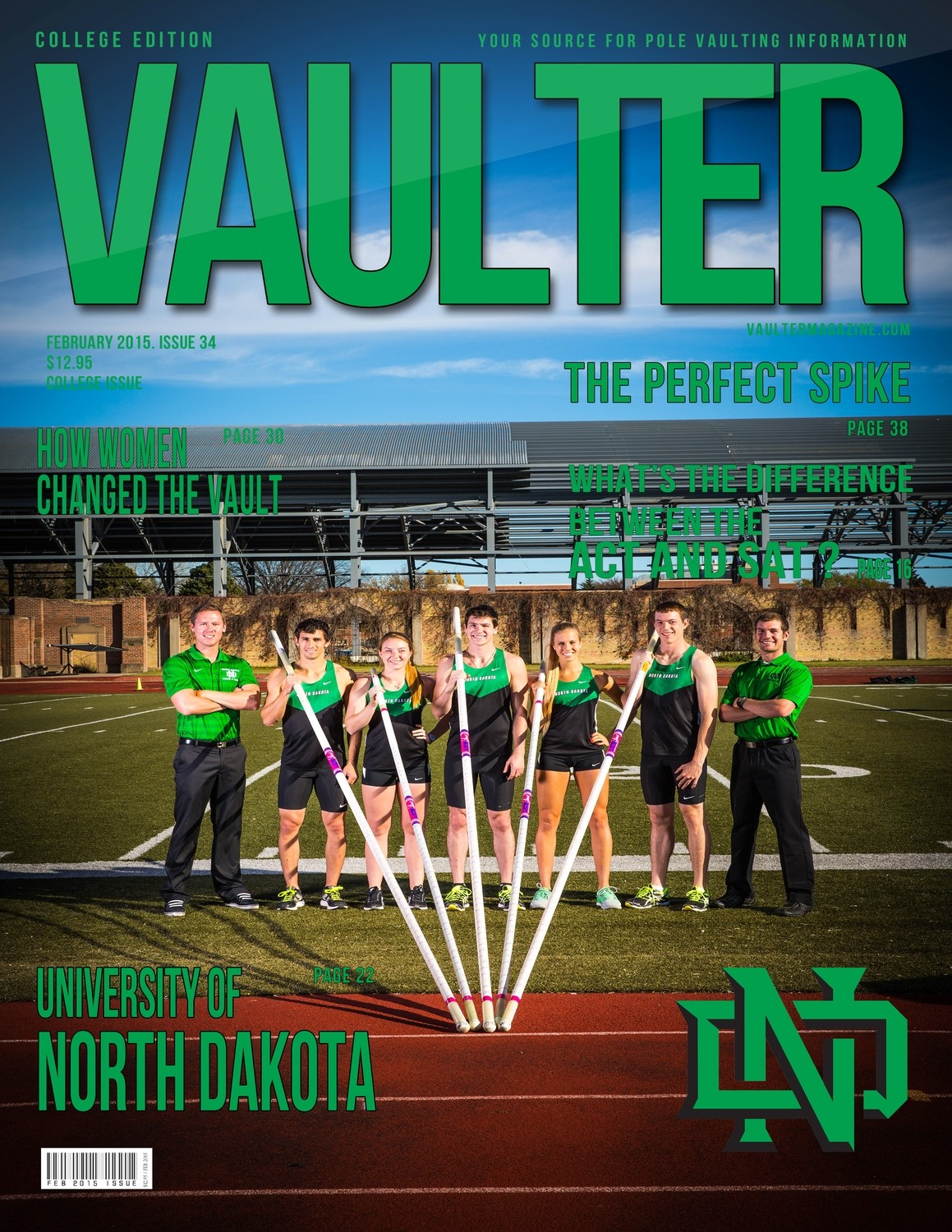 "February 2015 University of North Dakota Issue of VAULTER Magazine USPS First Class ""ONLY"""